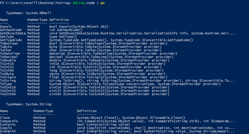 PowerShell] Using  Contains with System Data DataRow – No Column Name