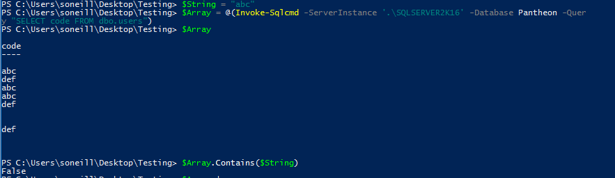 [PowerShell] Using .Contains with System.Data.DataRow