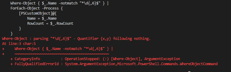 "PowerShell error ""Quantifier {x,y} following nothing"""