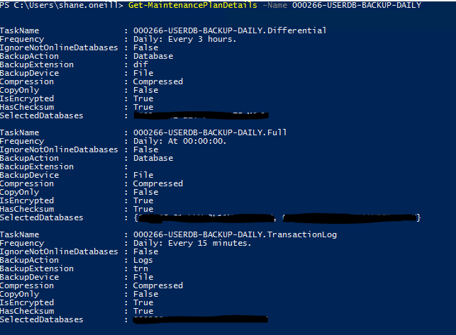 Getting Details from a Maintenance Plan using PowerShell
