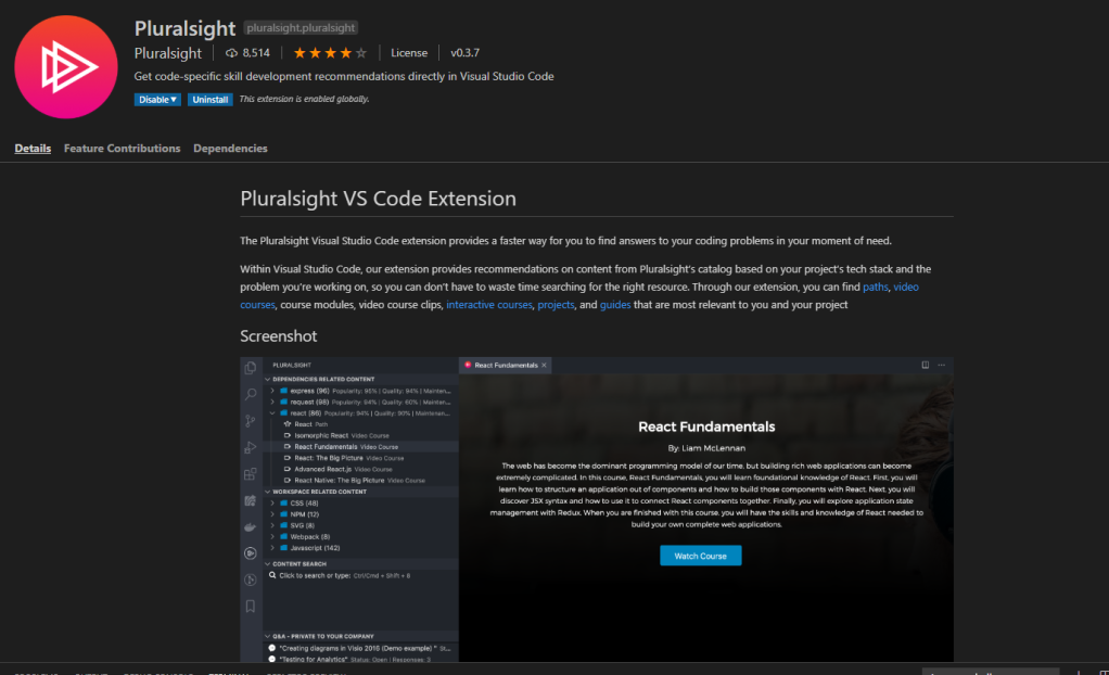 The Pluralsight extension page in VS Code