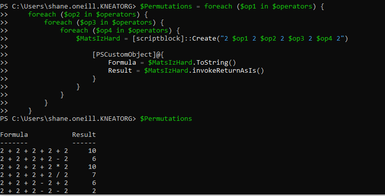 Defining the script and then calling the `$Permutations variable to get the results.